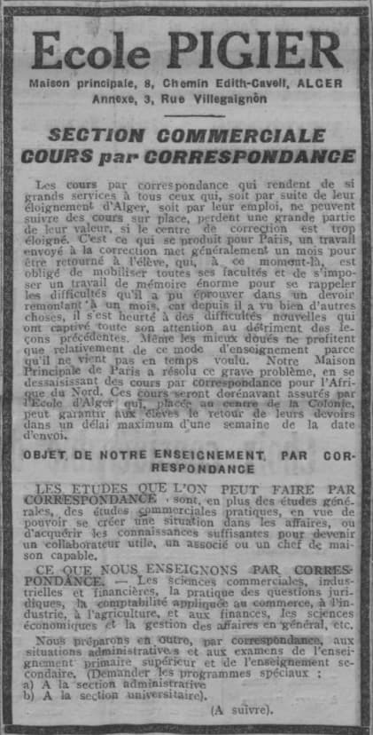 Ecole Pigier propose ses cours par correspondance en 1921 dans L'Écho d'Alger
